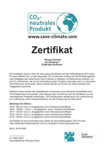 Urkunde CO2 Neutrales Weingut Egon Schmitt Pfalz Germany